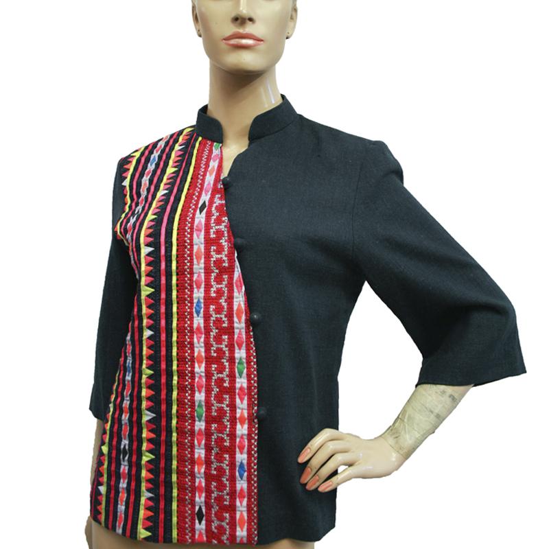 เสื้อชาวเขาม้งไทยต่อผ้าใยกัญชงสีน้ำเงิน
