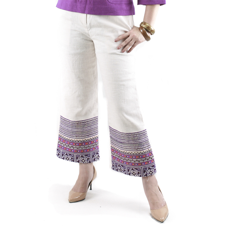 กางเกงผ้าใยกัญชงสีขาวขายาวแต่งปักมือชาวเขาสีม่วง