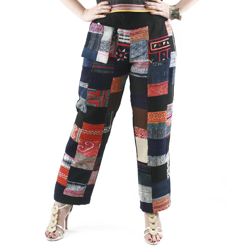 กางเกงขายาวผ้าต่อลายชาวเขาต่อขอบเอวผ้าใยกัญชงเอวยางยืดด้านหลัง