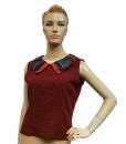 เสื้อแขนกุดแต่งคอลายเขียนเทียนผ้าใยกัญชงสีแดง