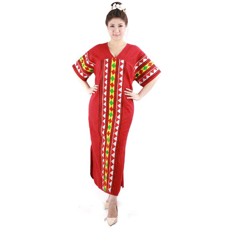 ชุดเดรสทรงกะเหรี่ยงผ้าใยกัญชงสีแดงแต่งลายจิกมือม้งไทย